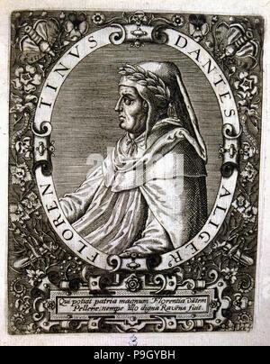 Dante Alighieri (1265-1321), poeta italiano, grabado.