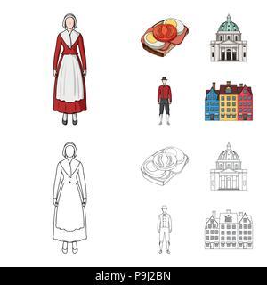 Dinamarca, historia, restaurante y otro icono de cartoon,el estilo de esquema.sándwich, comida, pan iconos en conjunto