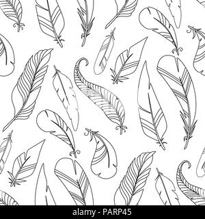 Cartoon vectores de plumas de aves patrón perfecta textura de fondo monocromo Foto de stock