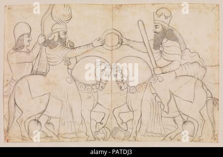 Dibujo de Sasán rock alivio: Ardashir I (r. A.D. 224-241) y los zoroástricos divinidad Ahura Mazda en Naqsh-i Rustam, sur de Irán. Artista: Lutf 'Ali Khan (1797-1869). Cultura: Qajar. Dimensiones: 12.76 x 15.75 in. (32.41 x 40.01 cm). Fecha: A.D. 1860 (dibujo). Este dibujo de Sasán rock socorro en Naqsh-i Rustam, Irán representa la investidura de Ardashir I (r. 224-241), que recibe el anillo de office de Ahura Mazda, el dios supremo de los seguidores de Zoroastro. Tanto el rey y Dios están a caballo; el dios viste un caftan, el prestigioso traje de equitación de Sasán período y su ventilador-portador stan Foto de stock
