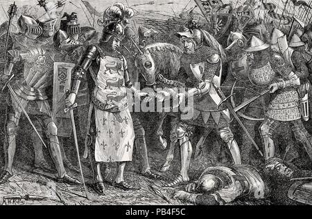 La rendición del rey Juan II de Francia, la Batalla de Poitiers, en 1356, la guerra de los Cien Años, del británico batallas en tierra y mar, por James Grant