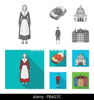 Dinamarca, historia, restaurante y otro icono en monocromo, flat style.sándwich, comida, pan iconos en conjunto