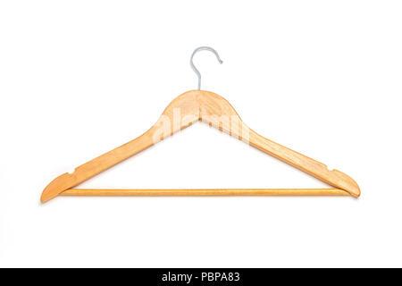 Una percha de madera aislado sobre un fondo blanco.