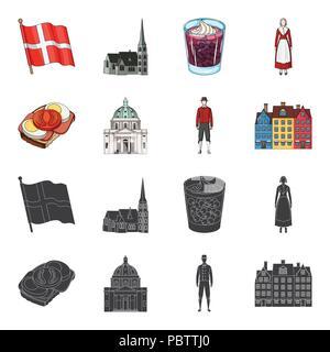 Dinamarca, historia, restaurante y otro icono en negro,cartoon style.sándwich, comida, pan iconos en conjunto