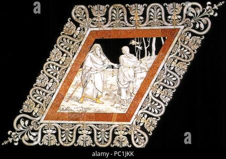 472 Pavimento di Siena, esagono, Elia incontra la vedova nel bosco (franchi)