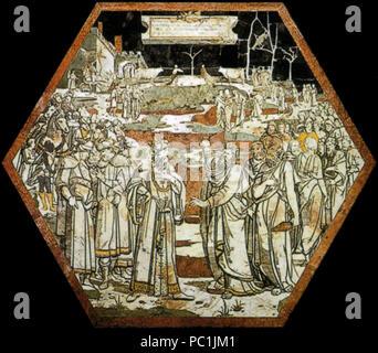 472 di Siena, pavimento, patto esagono tra elia e acab (beccafumi)