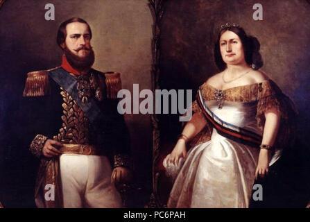 36 François-René Moreaux - Imperador están D.Pedro II e Imperatriz Teresa Cristina Foto de stock