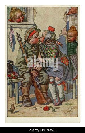 German Historical postal: los niños como los adultos: el soldado regresó a su novia desde la parte delantera con una cruz de hierro. Artista Beithan Emil, wwi