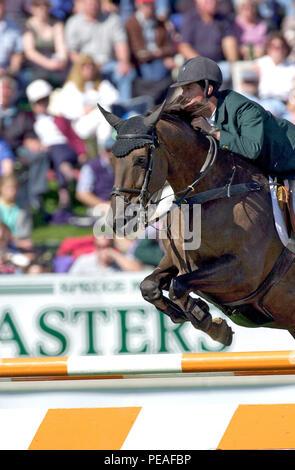 CSIO Masters, Spruce Meadows, en septiembre de 2000, Billy Twomey (IRE) caballo Hilton Foto de stock