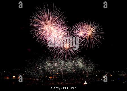 Fuegos artificiales en el cielo nocturno en Szczecin durante los fuegos artificiales de vacaciones.