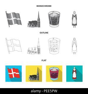 Dinamarca, historia, restaurante y otro icono en planas,esbozo,estilo monocromo.Sandwich, alimentos pan iconos en conjunto