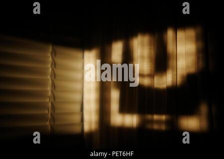 Contrasty sombras y luz a través de las persianas al atardecer