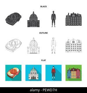 Dinamarca, historia, restaurante y otro icono en negro,planas,el estilo de esquema.Sandwich, alimentos pan iconos en conjunto