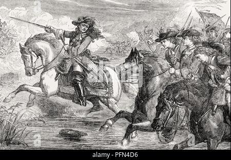 El Príncipe holandés Guillermo de Orange en la Batalla del Boyne, 1690, del británico batallas en tierra y mar, por James Grant Foto de stock