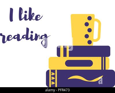 Pila de libros y menaje para preparar té y me encanta leer concepto ...