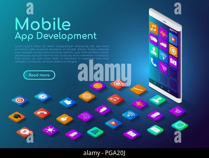 3D isométrica banner web smartphone con mobile app icono. Desarrollo de Aplicaciones Móviles concepto página de aterrizaje.