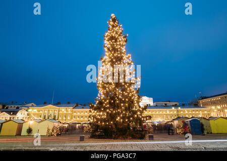 Helsinki, Finlandia. Por la noche la vista de árbol de Navidad en la Plaza del Senado en la tarde noche de Navidad Navidad iluminaciones festivas. Foto de stock