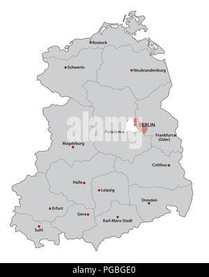 Republica Democratica Alemana Mapa.Mapa Administrativo De Berlin Ilustracion Del Vector Imagen