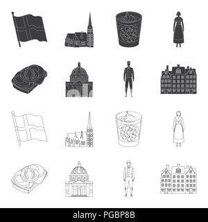 Dinamarca, historia, restaurante y otro icono en color negro,el estilo de esquema.sándwich, comida, pan iconos en conjunto