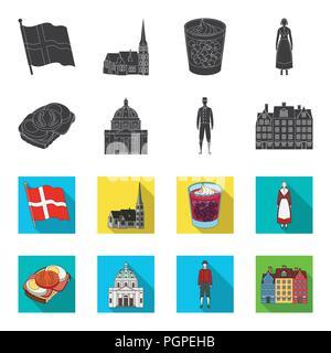 Dinamarca, historia, restaurante y otro icono en negro,flet style.sándwich, comida, pan iconos en conjunto