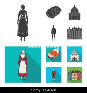Dinamarca, historia, restaurante y otro icono en color negro, estilo plano.sándwich, comida, pan iconos en conjunto