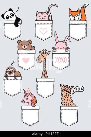 Cute animales bebe sentado en un bolsillo, panda, oso, gato, zorro, bunny, pereza, jirafas, unicornio, Lama, el conjunto de elementos de diseño vectorial