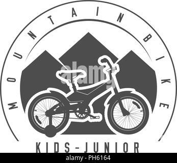 Mountain Bike, Junior y niños emblema distintivo. Monocromo ilustración vectorial. Junior y niños bicicleta silueta detallada.