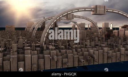 3D rendering. Ciudad futurista y naves espaciales