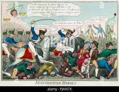 La masacre de Peterloo. La masacre tuvo lugar el 16 de agosto de 1819 en San Pedro el campo, Manchester, Inglaterra, cuando la 15ª Hussars, un regimiento de caballería, cargada con sables arrastrados a una muchedumbre desarmada que exigen la reforma de la representación parlamentaria, matando a 15 e hiriendo a un estimado de 500-plus. Después de una caricatura contemporánea publicado 1819. Posiblemente dibujado por Robert Cruikshank.