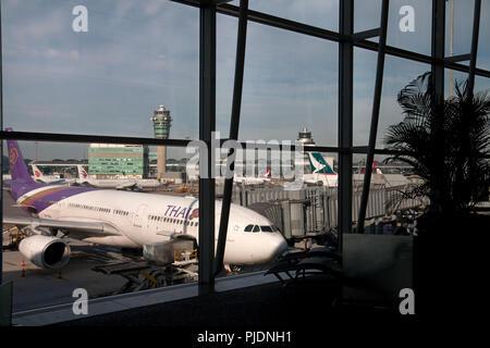 Terminal 1 del aeropuerto internacional de Hong Kong Chek Lap Kok de Hong Kong, China