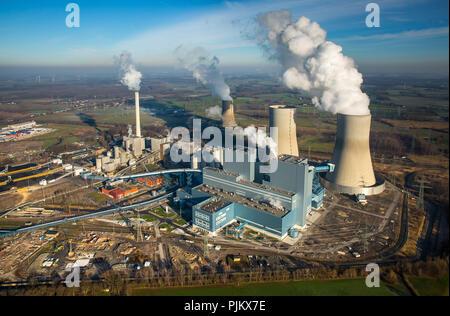 Westfalen power station RWE power, la planta de energía de carbón, la antigua planta de energía nuclear, Welver THTR Hamm Uentrop, área de Ruhr, Renania del Norte-Westfalia, Alemania