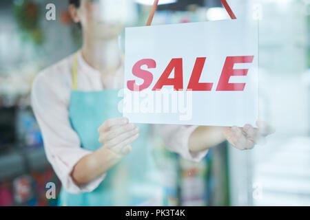 Señal de venta en la tienda