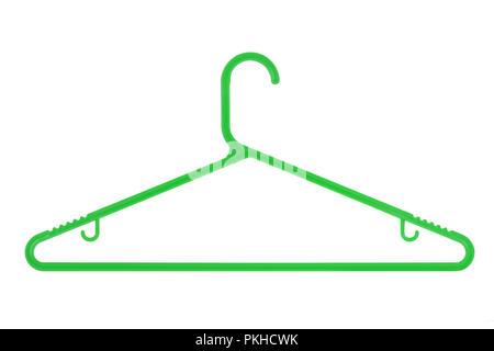 Percha de plástico verde aislado en un fondo blanco.