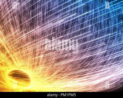 Enjambre de partículas que fluyen con brillantes estelas. Ilustración 3d.