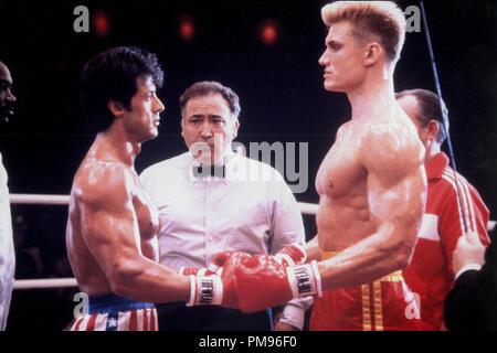 Studio publicidad todavía de 'Rocky IV' Sylvester Stallone, Dolph Lundgren © 1985 MGM/UA Todos Los Derechos Reservados Archivo de referencia # 31703100THA sólo para uso editorial