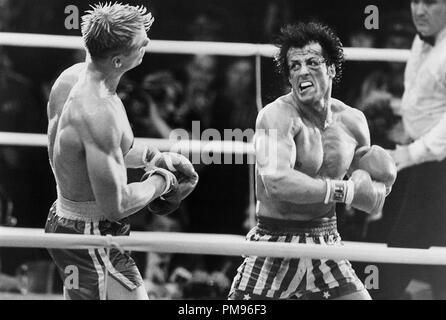 Studio publicidad todavía de 'Rocky IV' Sylvester Stallone, Dolph Lundgren © 1985 MGM/UA Todos Los Derechos Reservados Archivo de referencia # 31703101THA sólo para uso editorial