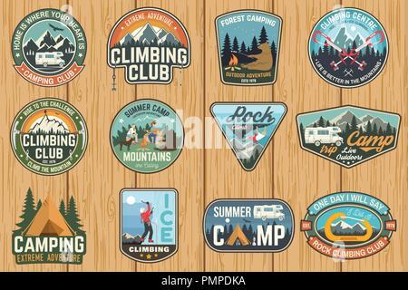 Conjunto de escalada en roca club y el campamento de verano de insignias. Concepto de vector para camisa o imprimir, estampar, parche o tee. Diseño con tipografía Vintage camping carpa, remolque, caravana, escalador, mosquetón y montañas
