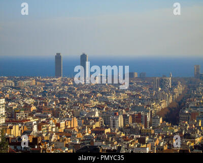 Vistas panorámicas de la ciudad de Barcelona, España.