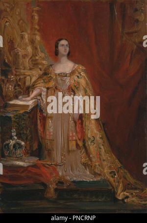 La coronación de la reina Victoria de tomar juramento, 28 de junio de 1838. Fecha/período: 1850. La pintura. Aceite en el panel. Altura: 360 mm (14,17); anchura: 254 mm (10 in). Autor: GEORGE HAYTER. Foto de stock