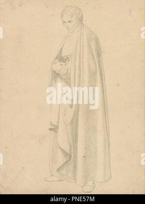 """Joseph Floor-Length Wintergerst en un abrigo. Fecha/período: Ca. 1811 - 1813. Dibujo. Grafito. Altura: 295 mm (11.61""""); anchura: 220 mm (8.66 in). Autor: Wilhelm von Schadow."""