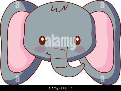 Cara linda elefante animal cartoon ilustración vectorial