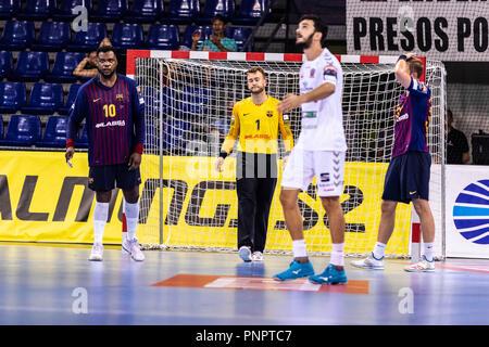 Barcelona, España. 22 de septiembre de 2018. En acciones durante la VELUX EHF Champions League entre el FC Barcelona y Lassa MKB Veszprem HC el 22 de septiembre de 2108 en el Palau Blaugrana, en Barcelona, España, el crédito: AFP7/Zuma alambre/Alamy Live News