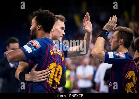 Barcelona, España. 22 de septiembre de 2018. La Liga de Campeones de EHF balonmano Velux, FC Barcelona versus Lassa Telekom Veszprem HC; los jugadores del Barça al final del partido Crédito: UKKO Images/Alamy Live News