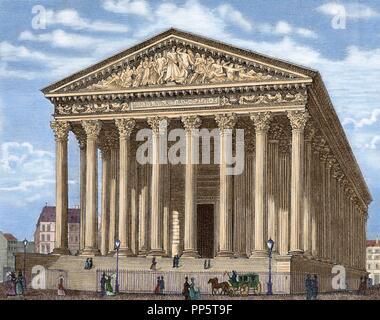 La Iglesia de La Madeleine (L'e glise de la Madeleine). Construido en 1806, fue concebido como un templo a la gloria del ejército de Napoleón. París. Francia. Grabado en color.