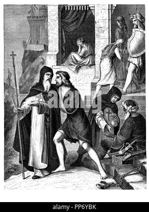 Miguel de Cervantes Saavedra (1544-1616). Escritor español. Redimido del cautiverio de Argelès por los padres trinitarios en 1580 por 500 escudos. Grabado de 1880.