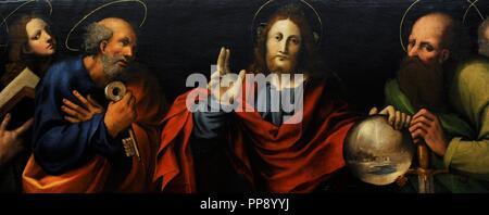 Marco Cardisco (1486-1542). Pintor italiano. Cristo con los apóstoles, ca.1533. Predella. Colección de bourbon. Museo Nacional de Capodimonte. Nápoles. Italia.