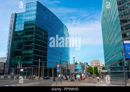 Rue de la Loi, en Lex edificio, sede de la Comisión Europea, el Barrio Europeo de Bruselas, Bélgica