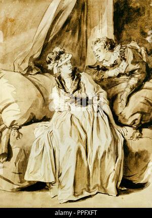 Jean-Honore Fragonard, la letra o la conversación en español. Circa 1778. Dibujo y acuarela. El Instituto de Arte de Chicago, EE.UU. Foto de stock
