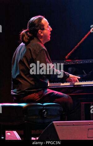 Moratalaz, Madrid, España - Septiembre 21-22, 2018: Lluis Coloma trio en el 1er Festival Internacional de Blues en Moratalaz, Madrid, España