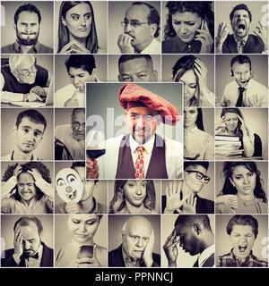Collage de hombres y mujeres en el grupo con diferentes emociones y sentimientos negativos con uno positivo hombre sujetando una copa de vino tinto en la parte delantera